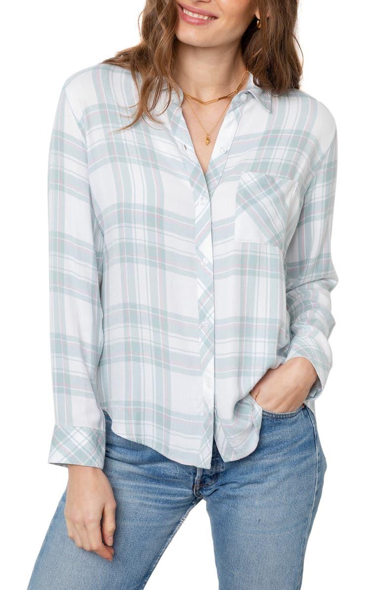 RAILS Hunter Plaid Shirt, Main, color, MINT PEONY WHITE
