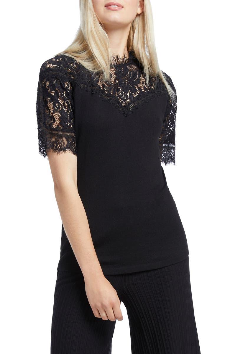 NIC+ZOE Victorian Lace Top, Main, color, BLACK ONYX