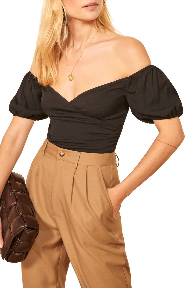 REFORMATION Lampone Off the Shoulder Top, Main, color, 001