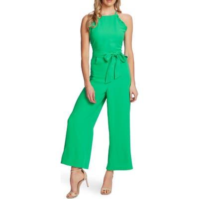 Cece Sleeveless Belted Ruffle Jumpsuit, Green