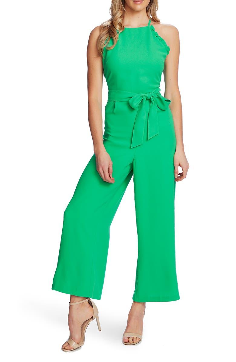 CECE Sleeveless Belted Ruffle Jumpsuit, Main, color, JASMINE GREEN
