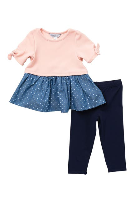 Image of Pastourelle by Pippa and Julie Chambray Knit Top & Leggings 2-Piece Set