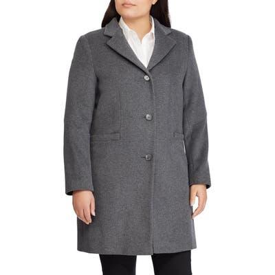 Plus Size Lauren Ralph Lauren Wool Blend Reefer Coat, Grey