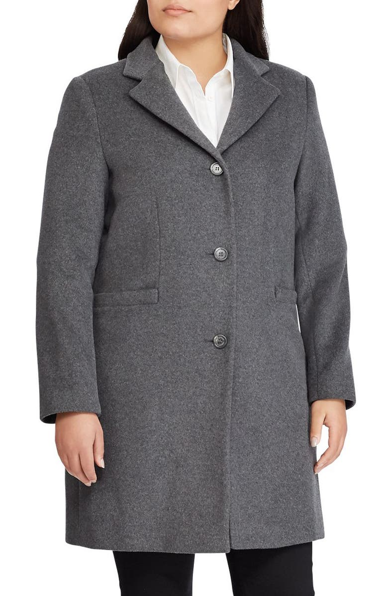 LAUREN RALPH LAUREN Wool Blend Reefer Coat, Main, color, DF GREY
