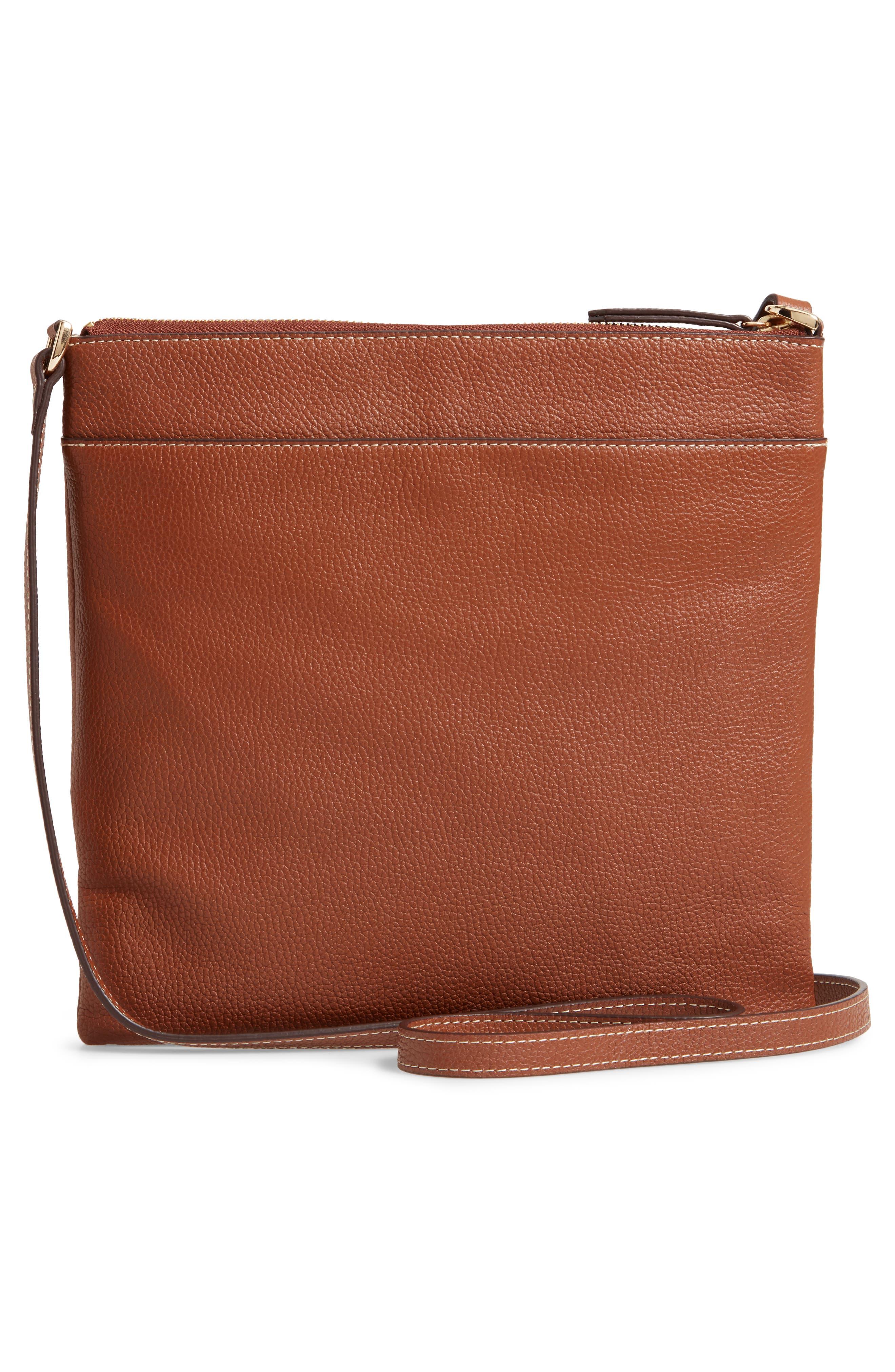 ,                             Finn Leather Crossbody Bag,                             Alternate thumbnail 4, color,                             BROWN AZTEC