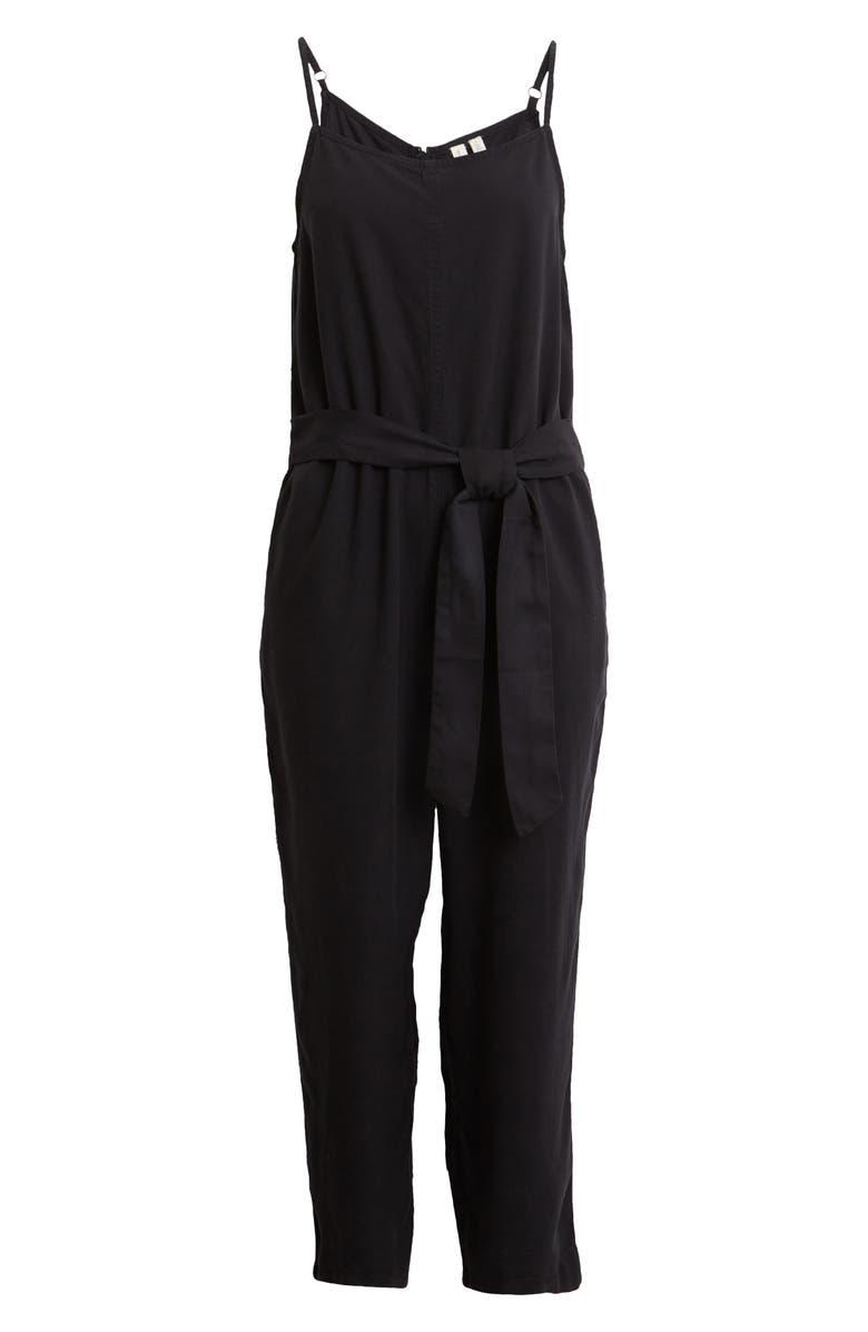 TREASURE & BOND Tie Front Sleeveless Jumpsuit, Main, color, BLACK