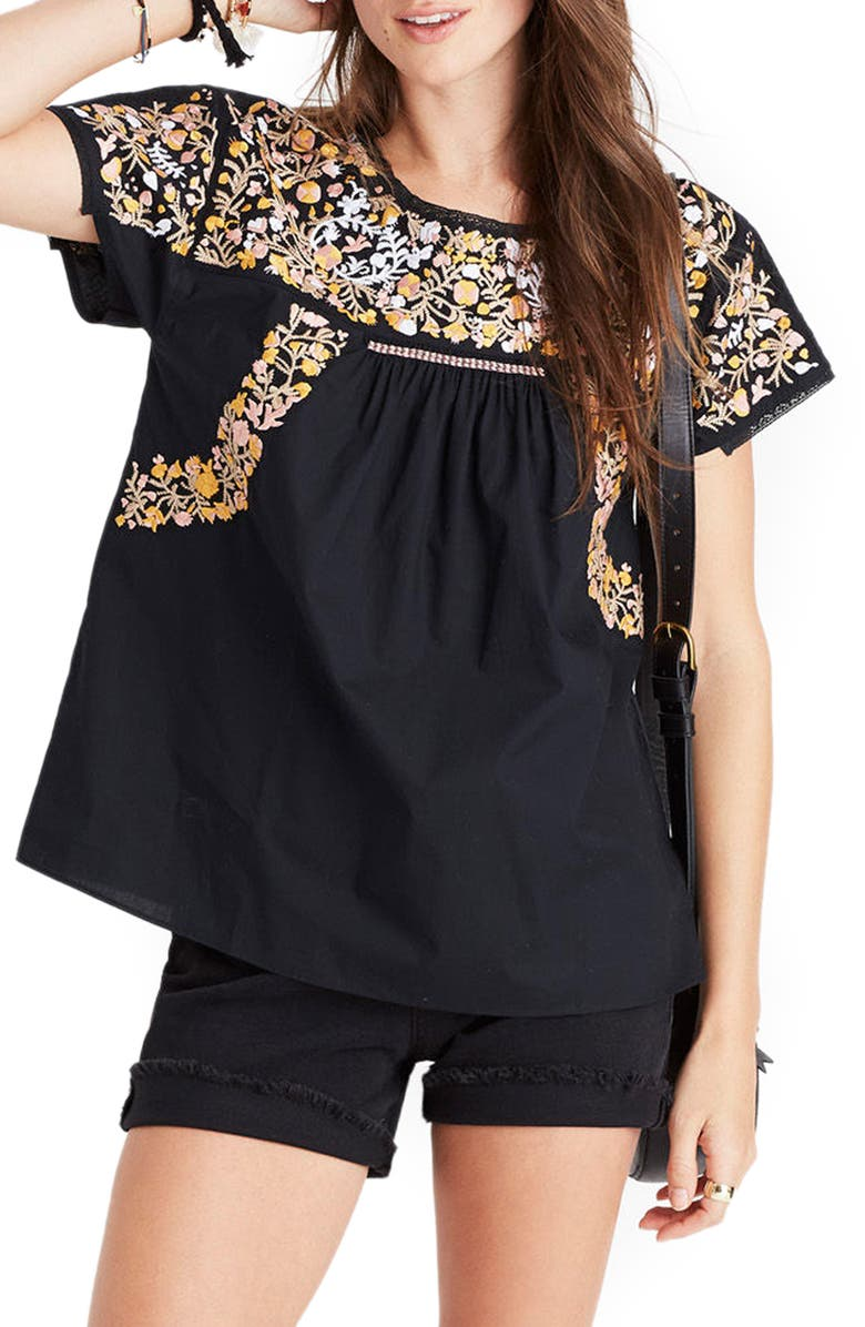 MADEWELL Fleur Embroidered Top, Main, color, 001