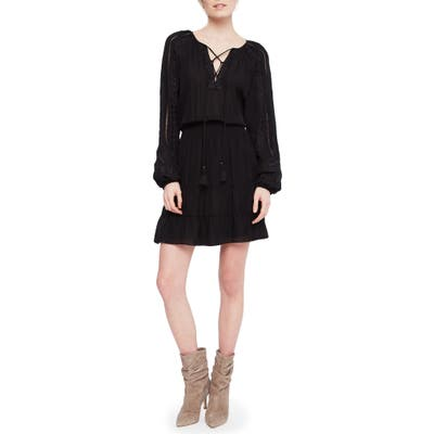 Parker Anaelle Long Sleeve Silk Blend Peasant Dress, Black