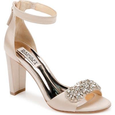 Badgley Mischka Edaline Crystal Embellished Ankle Strap Sandal- Beige
