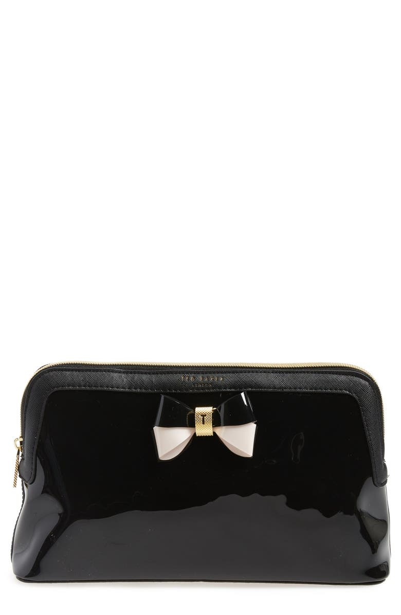 TED BAKER LONDON 'Large Bow - Madlynn' Cosmetics Case, Main, color, 001