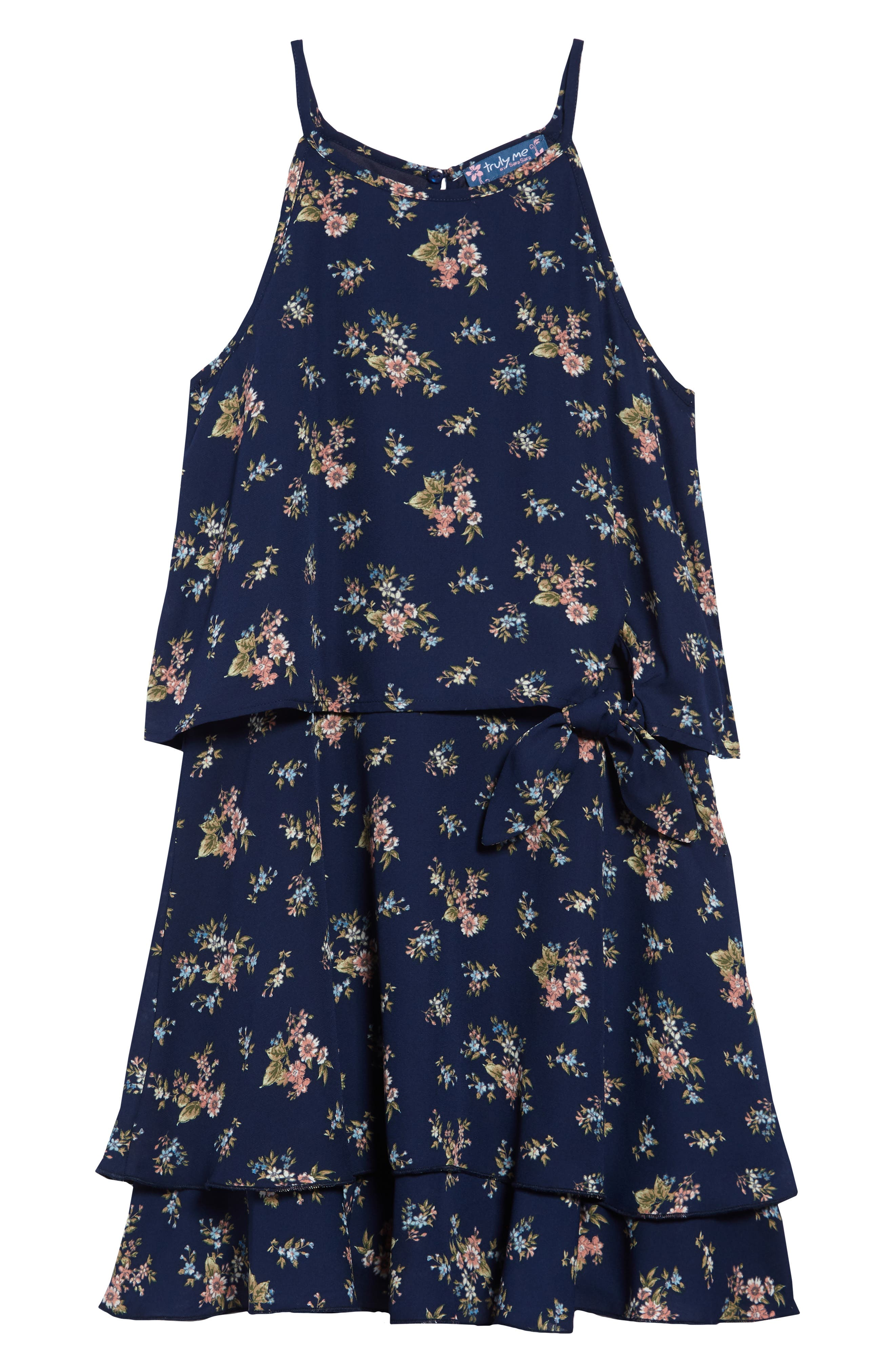 ,                             Floral Halter Dress,                             Main thumbnail 1, color,                             NAVY MULTI