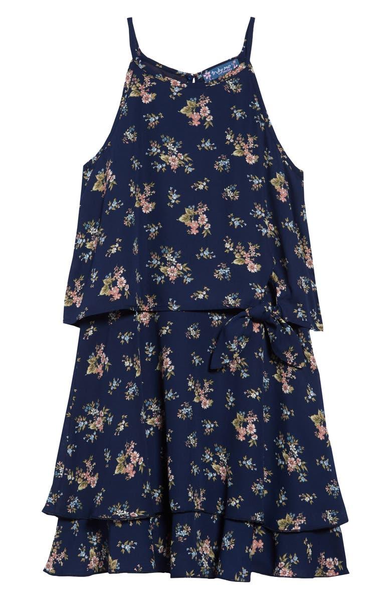 TRULY ME Floral Halter Dress, Main, color, NAVY MULTI
