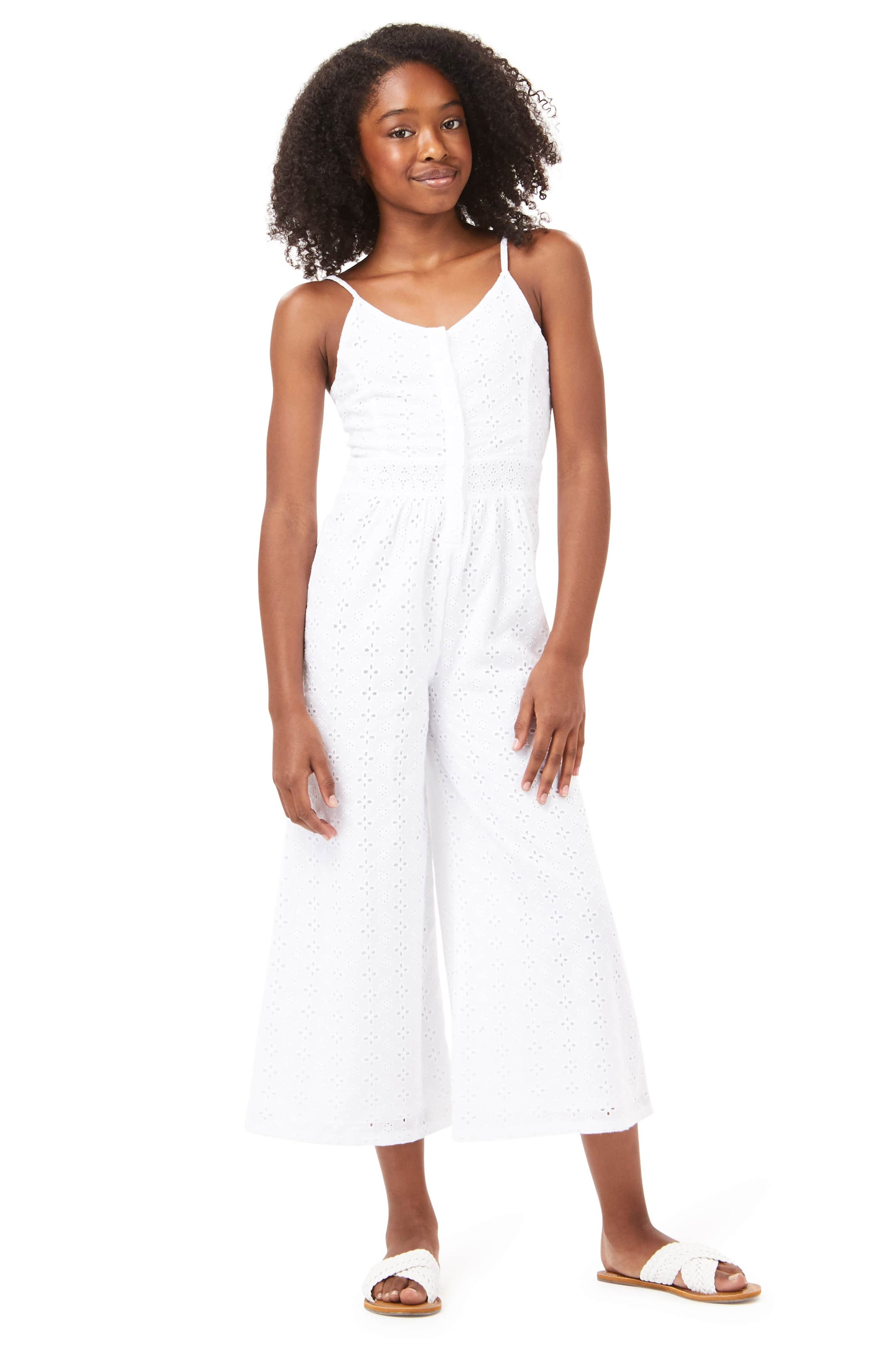 Image of Habitual Kids Eyelet Wide Leg Jumpsuit