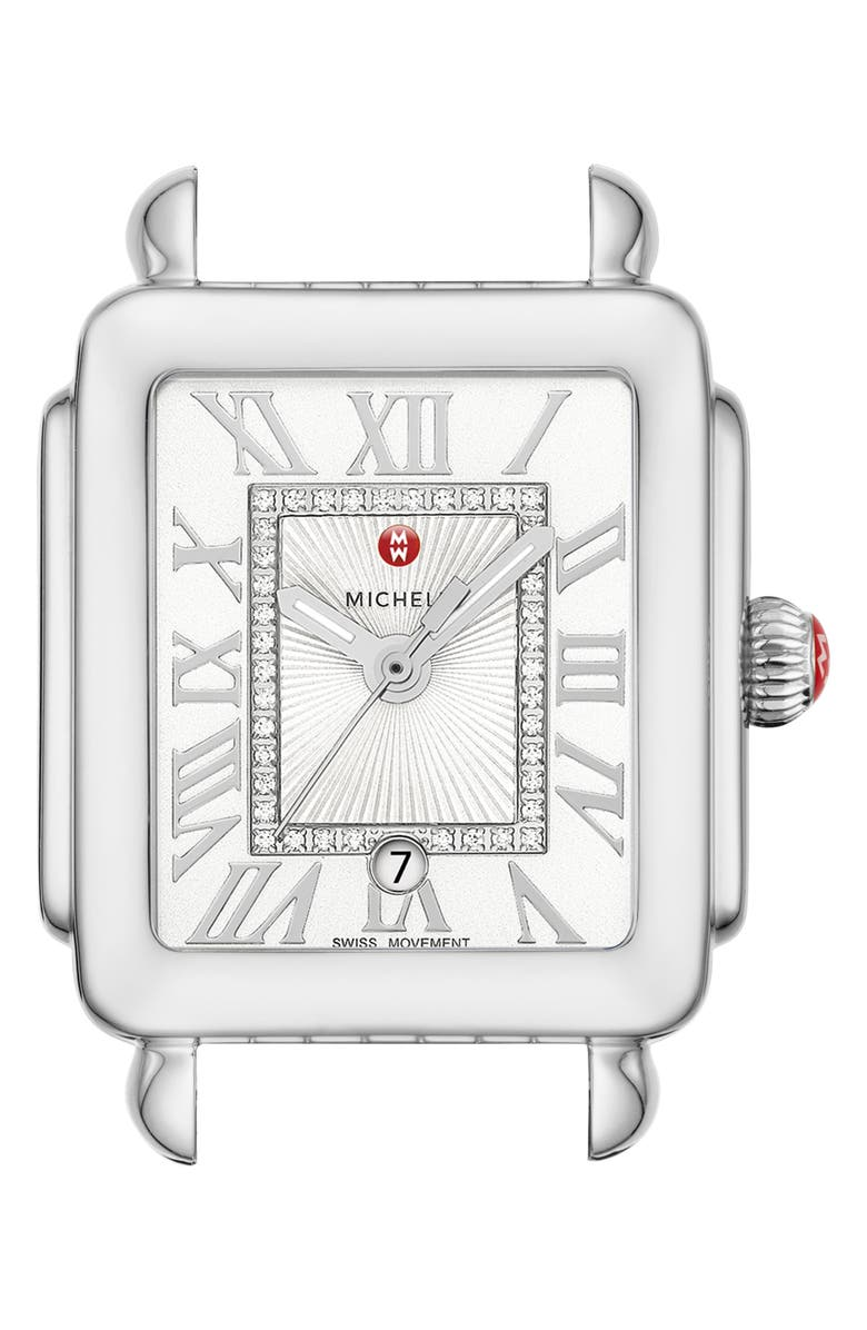 MICHELE Deco Madison Mid Diamond Dial Watch Head, 29mm x 31mm, Main, color, SILVER/ SILVER WHITE SUNRAY
