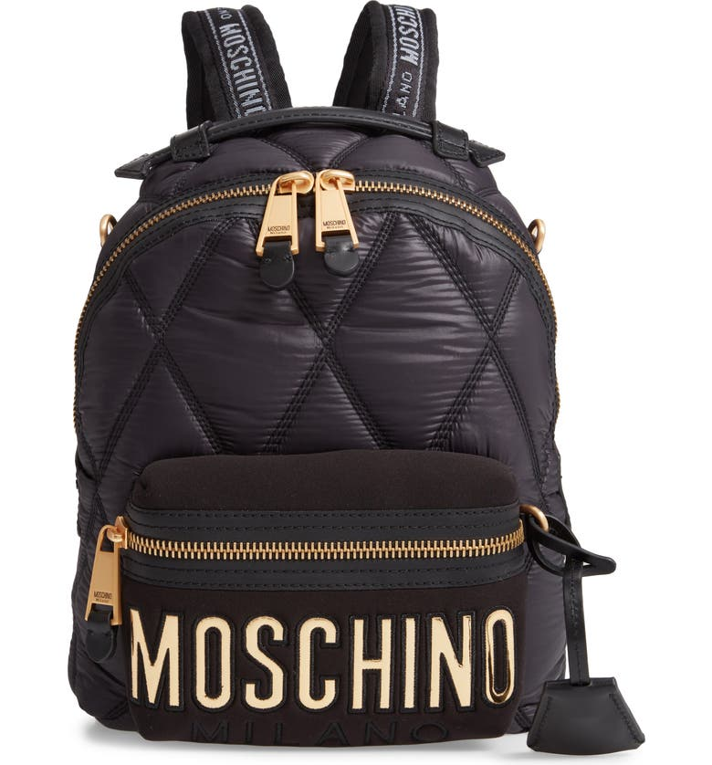 MOSCHINO Quilted Nylon Backpack, Main, color, BLACK/ GOLD