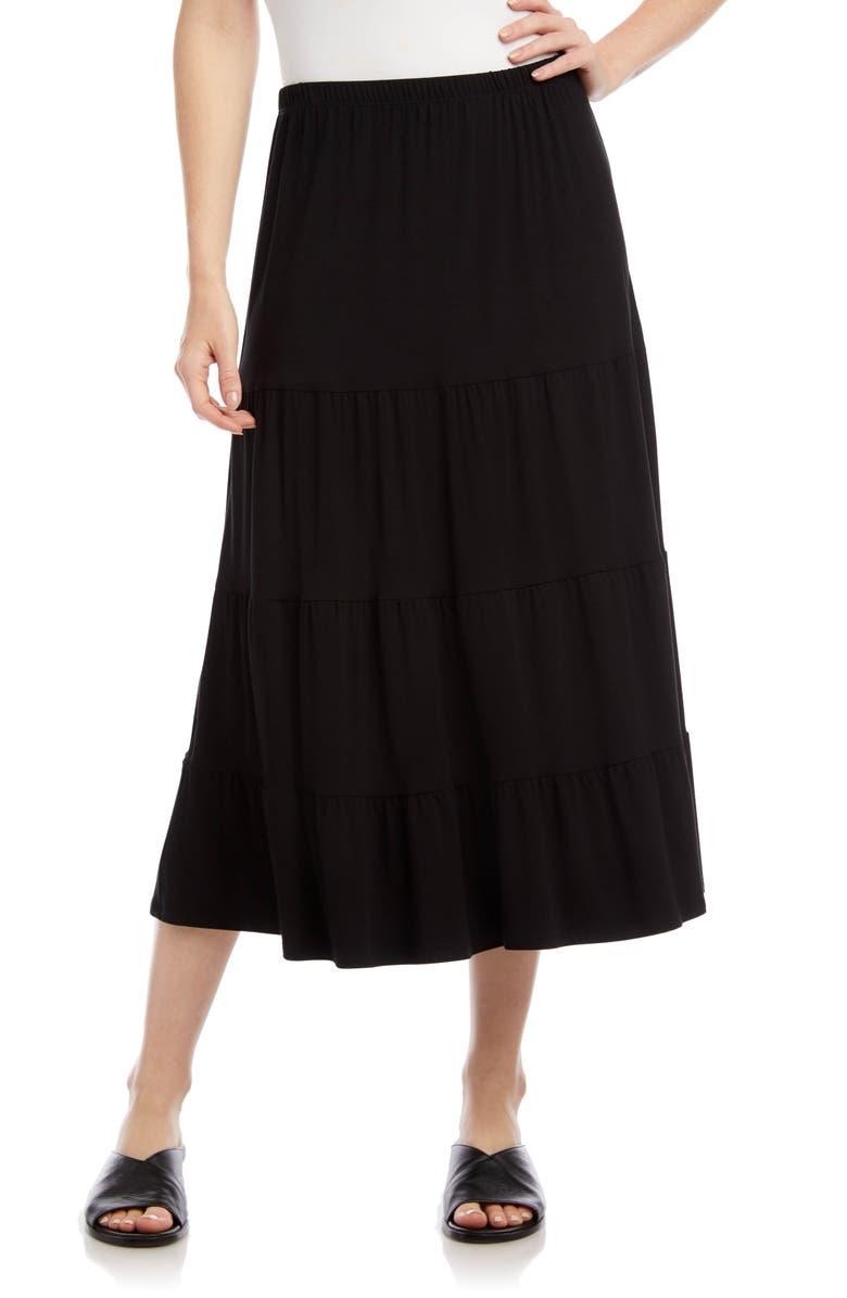 KAREN KANE Tiered Midi Skirt, Main, color, BLACK