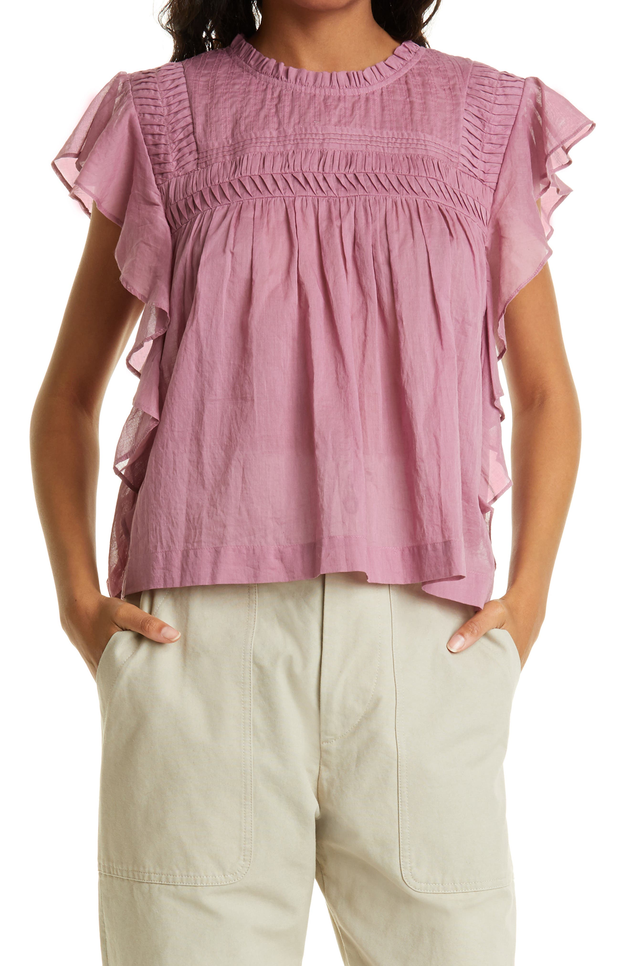 Women's Isabel Marant Etoile Layona Ruffle Sleeve Top