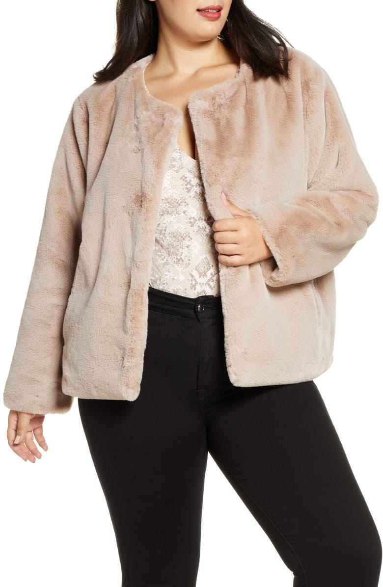 SANCTUARY Starry Night Faux Fur Jacket, Main, color, STONE