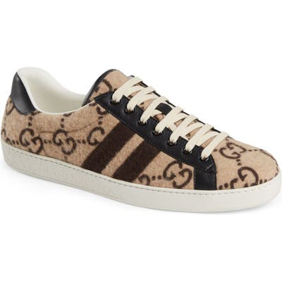Gucci New Ace Gg Logo Sneaker, Brown