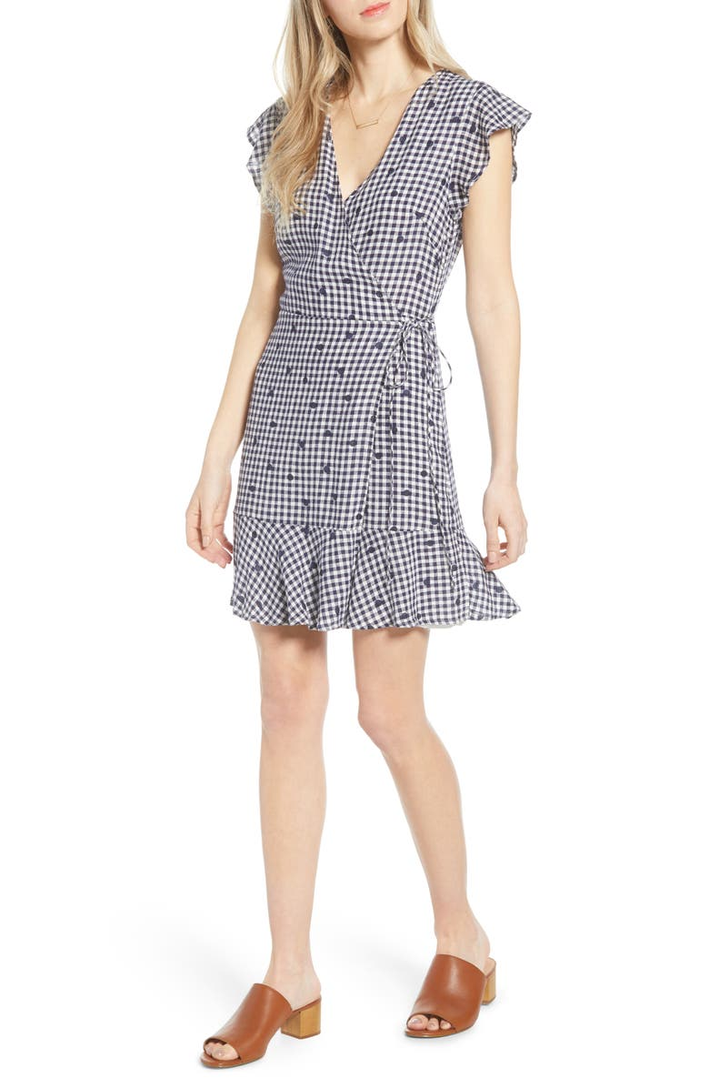 RAILS Leanne Ruffle Wrap Dress, Main, color, NAVY GINGHAM DOTS