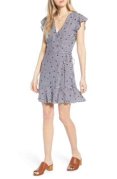 Rails Leanne Ruffle Wrap Dress In Navy Gingham Dots