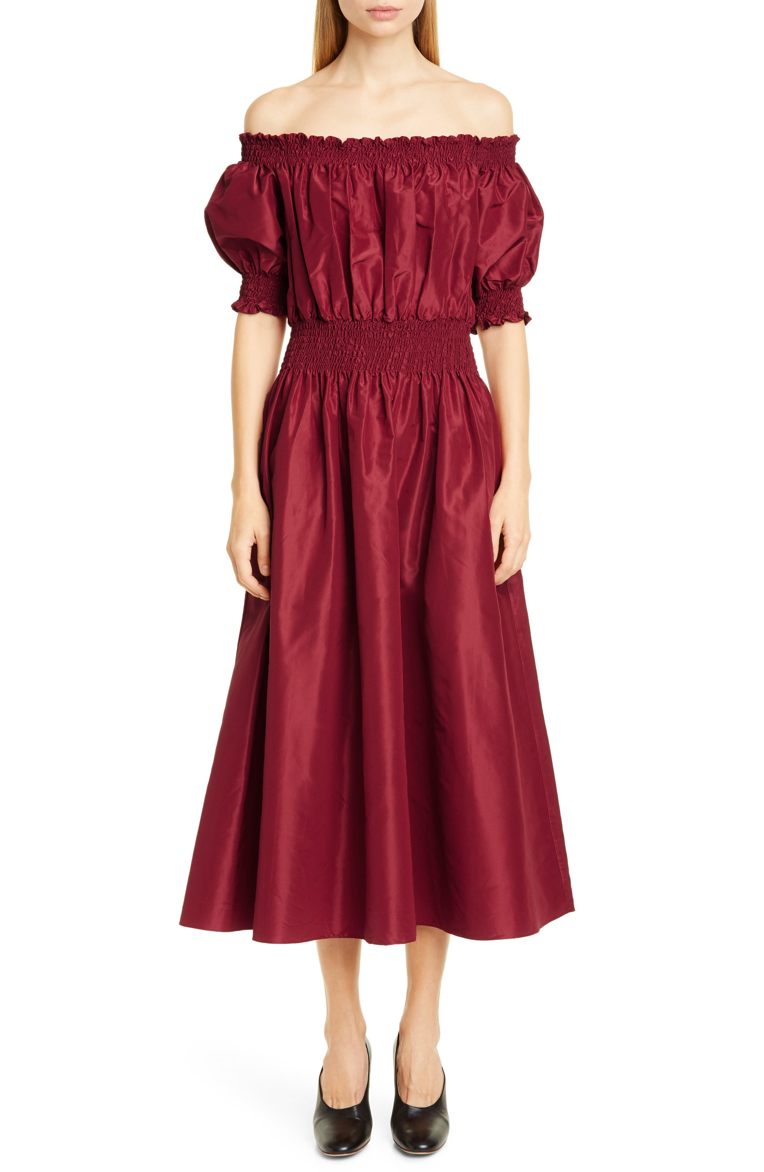 Adam Lippes Dresses Off the Shoulder Silk Taffeta Midi Dress