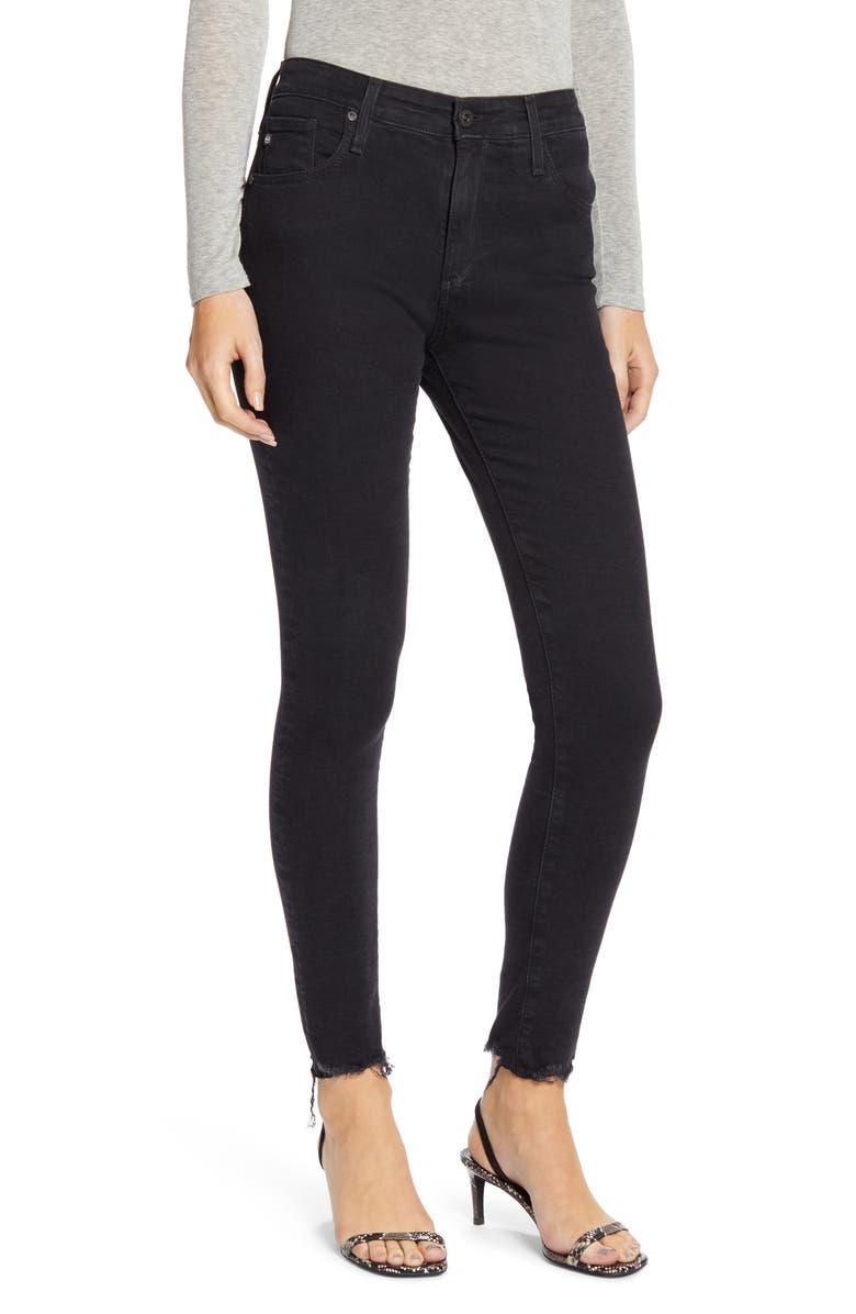 AG Farrah High Waist Raw Hem Skinny Jeans, Main, color, ALTERED BLACK
