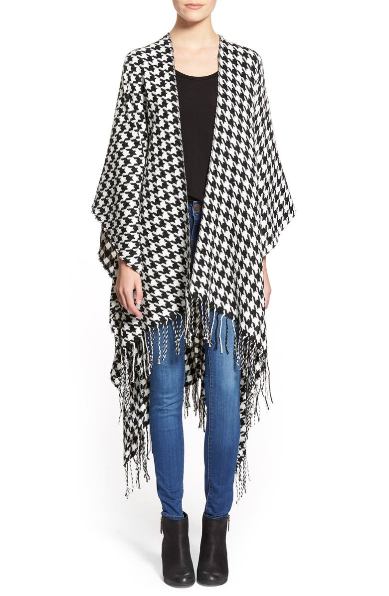 CAPELLI NEW YORK Capelli of New York Houndstooth Cape, Main, color, 002