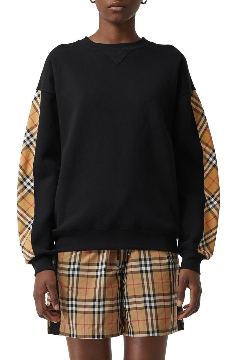 BURBERRY Bronx Vintage Check Sweatshirt, Main, color, BLACK
