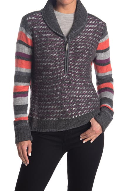 Image of SmartWool Mixed Print 1/2 Zip Pullover Sweater