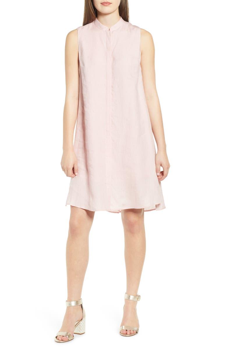 ANNE KLEIN Mandarin Collar Linen Trapeze Dress, Main, color, CHERRY BLOSSOM