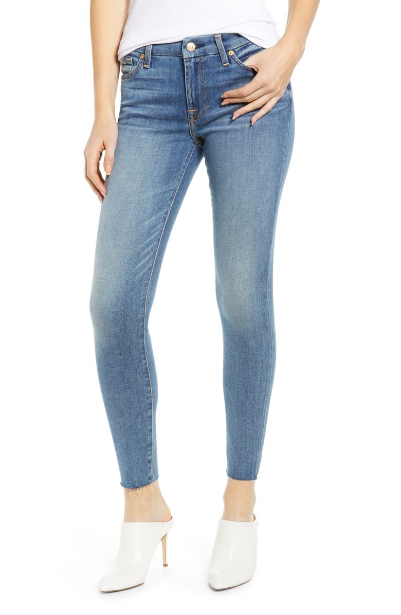 7 FOR ALL MANKIND<SUP>®</SUP> Raw Hem Ankle Skinny Jeans, Main, color, PRETTY MEDIUM VINTAGE