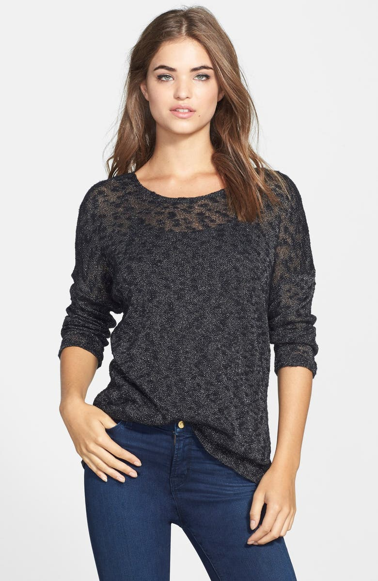 TWO BY VINCE CAMUTO Silver Shimmer Mélange Pullover, Main, color, 006
