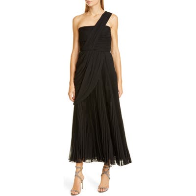 Giambattista Valli One-Shoulder Pleat Midi Evening Gown, US / 48 IT - Black