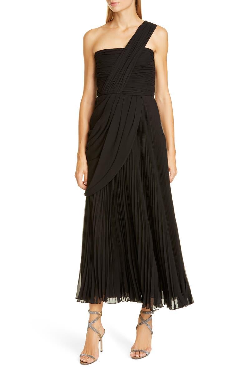GIAMBATTISTA VALLI One-Shoulder Pleat Midi Evening Gown, Main, color, BLACK