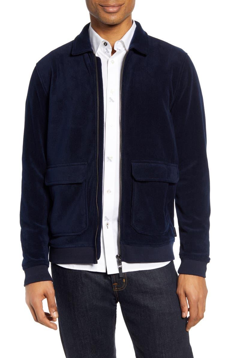 TED BAKER LONDON Turbbo Slim Fit Velvet Bomber Jacket, Main, color, NAVY