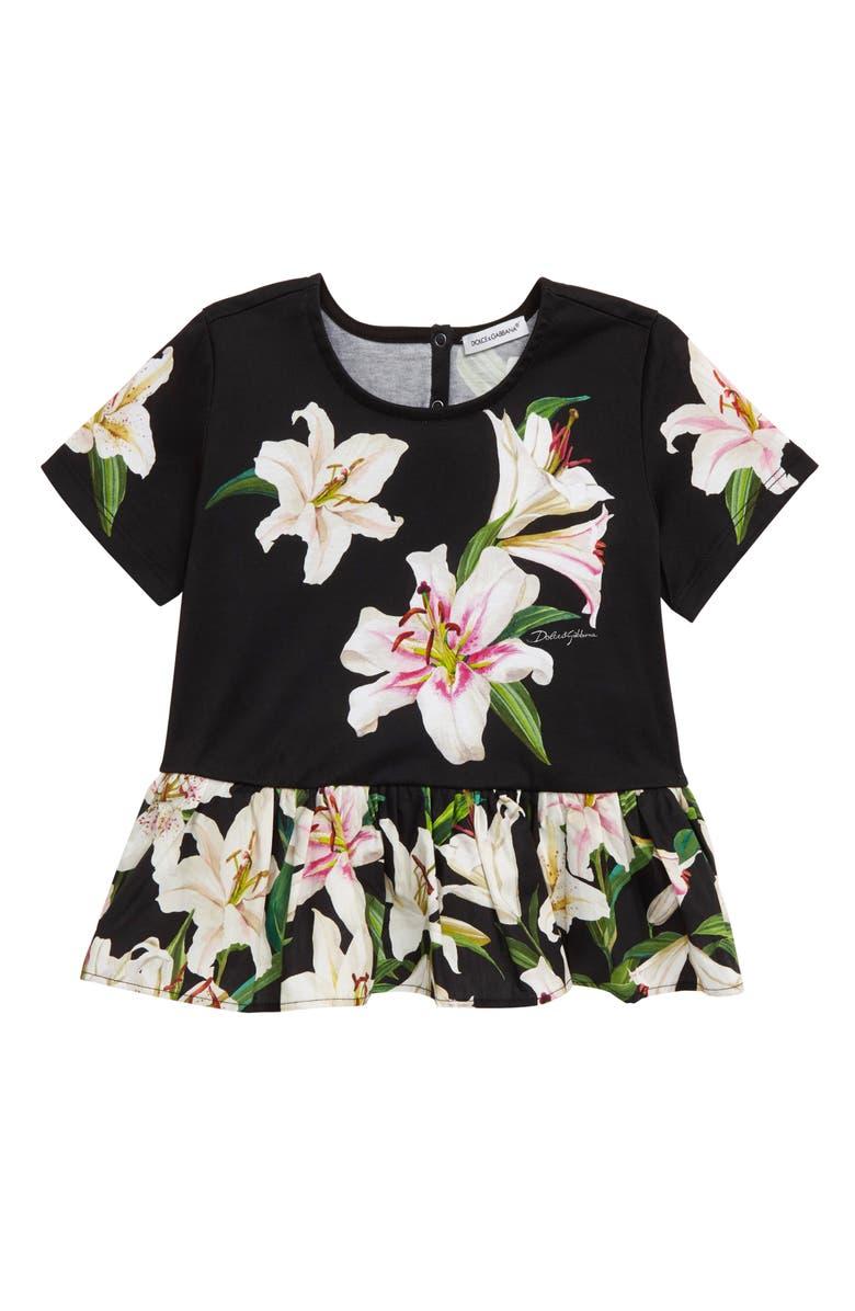 DOLCE&GABBANA Floral Peplum Cotton Top, Main, color, NERO