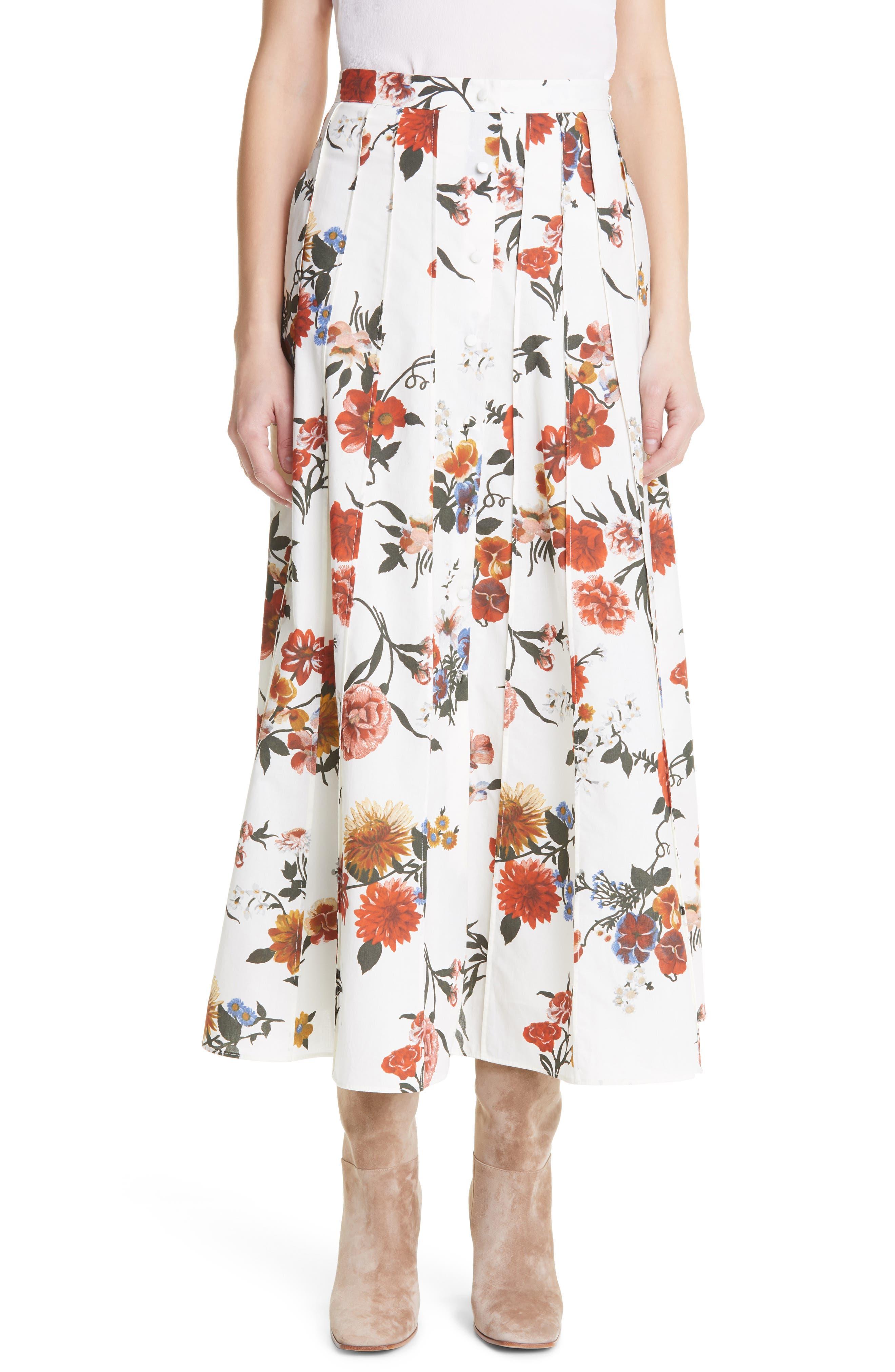 Sonia Floral Print Pleat Button Front Cotton Skirt