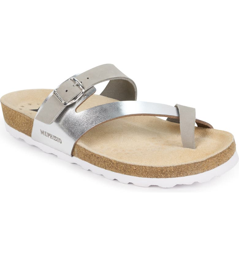 MEPHISTO Nalia Slide Sandal, Main, color, LIGHT GREY PATENT