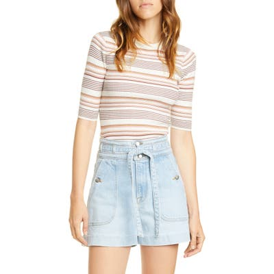 Frame Stripe Ribbed Cotton & Wool Sweater, Ivory
