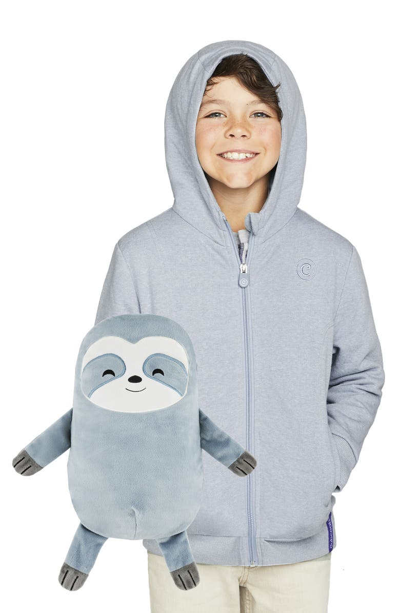 CUBCOATS Sloth 2-in-1 Stuffed Animal Hoodie, Main, color, TEAL MARL