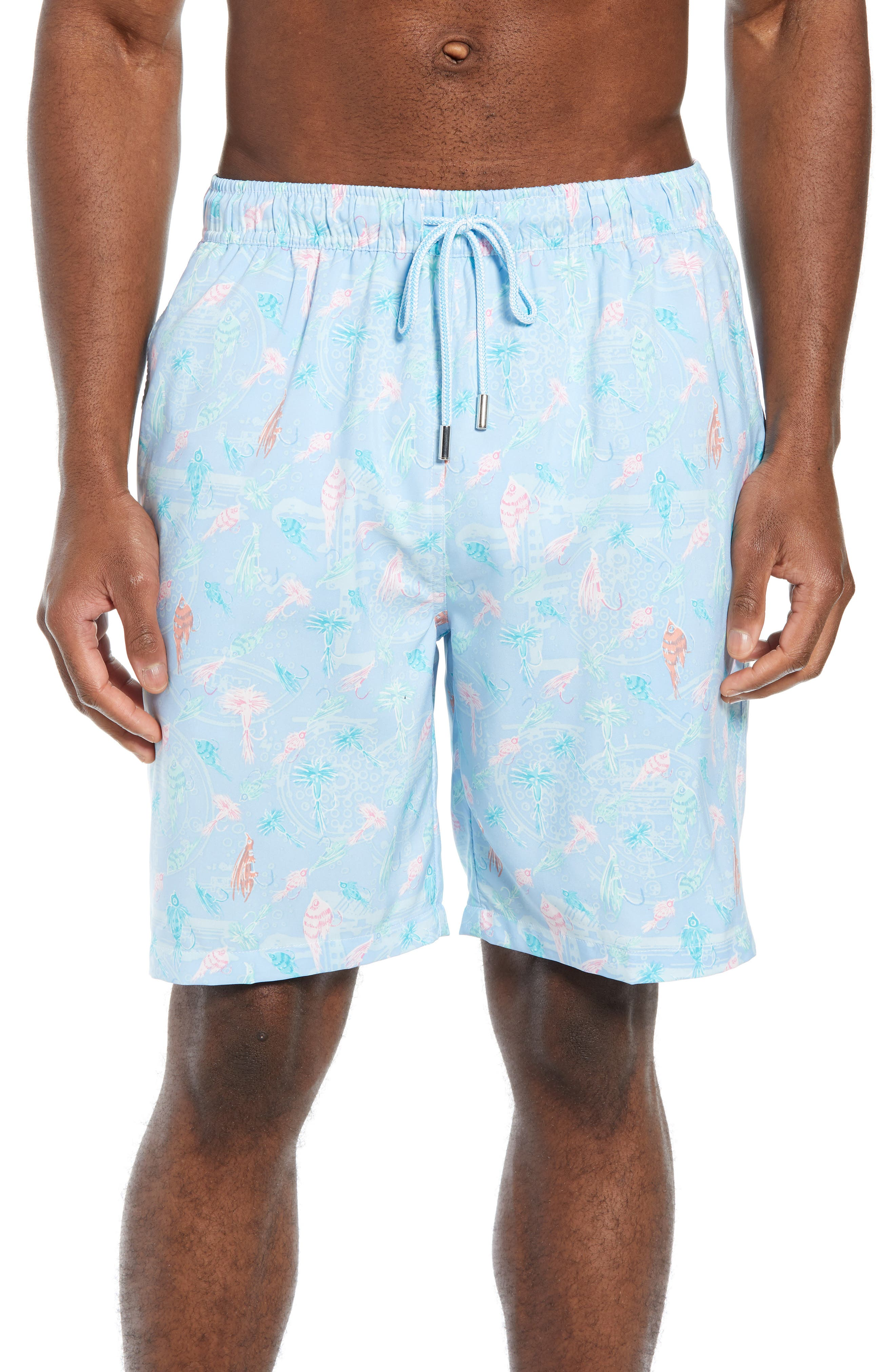 Peter Millar Fly Fish Swim Trunks, Blue