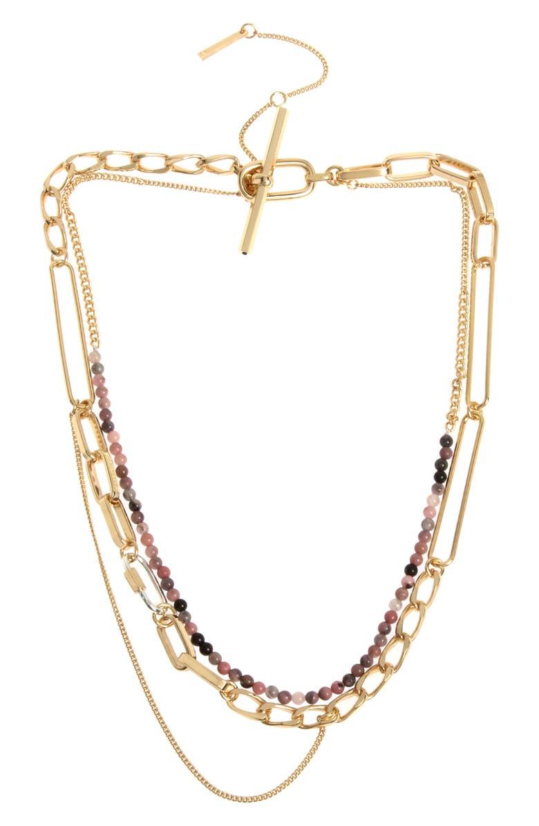 ALLSAINTS Beaded Multi-Chain Necklace, Main, color, RHODOCHROSITE/ GOLD