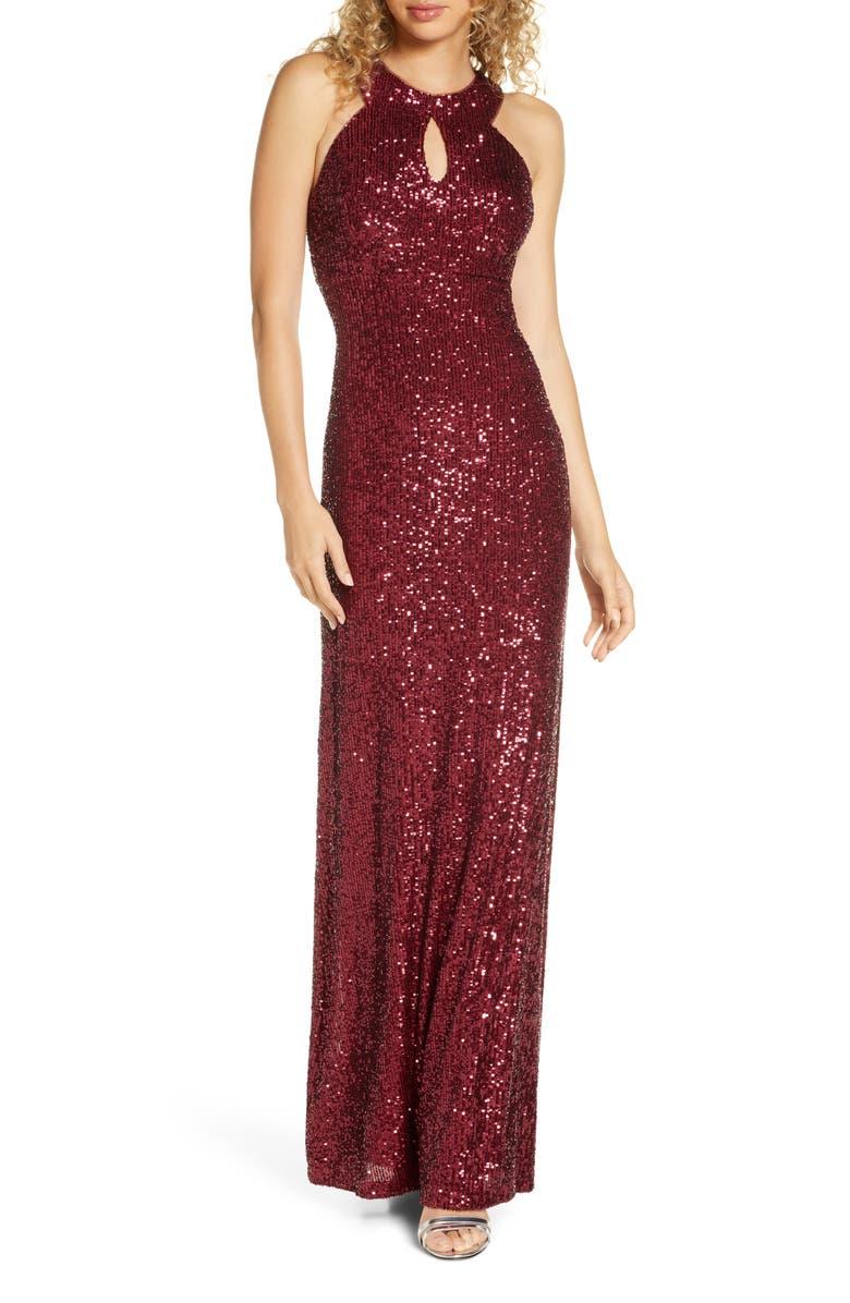 MORGAN & CO. Halter Sequin Gown, Main, color, MERLOT
