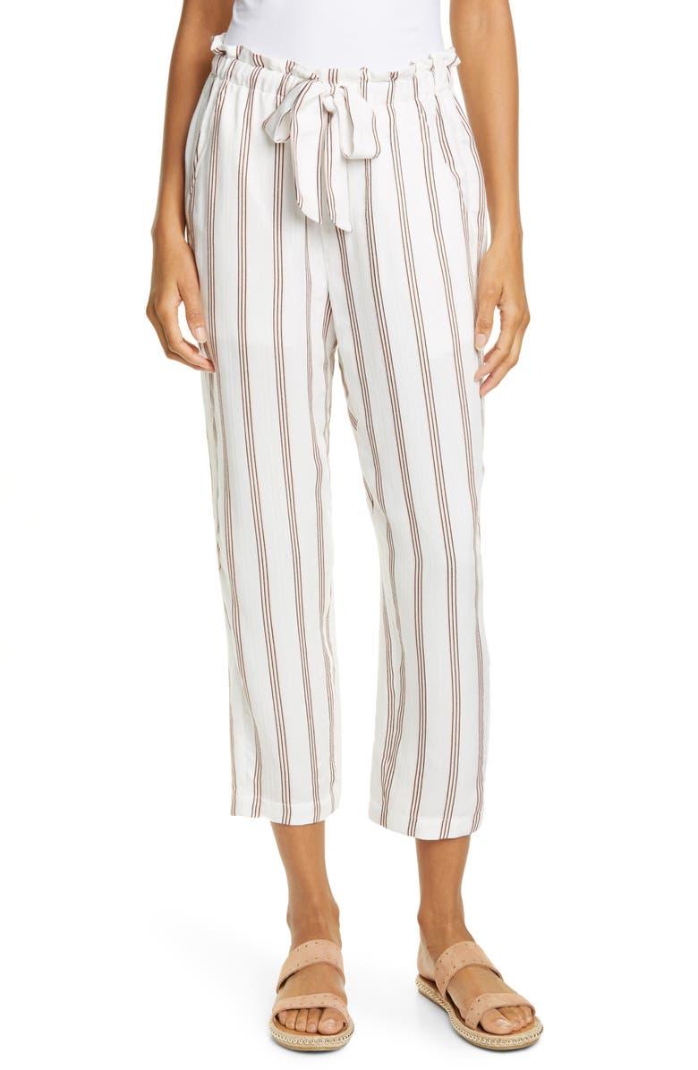JOIE Cavell Stripe Tie Waist Pants, Main, color, PORCELAIN