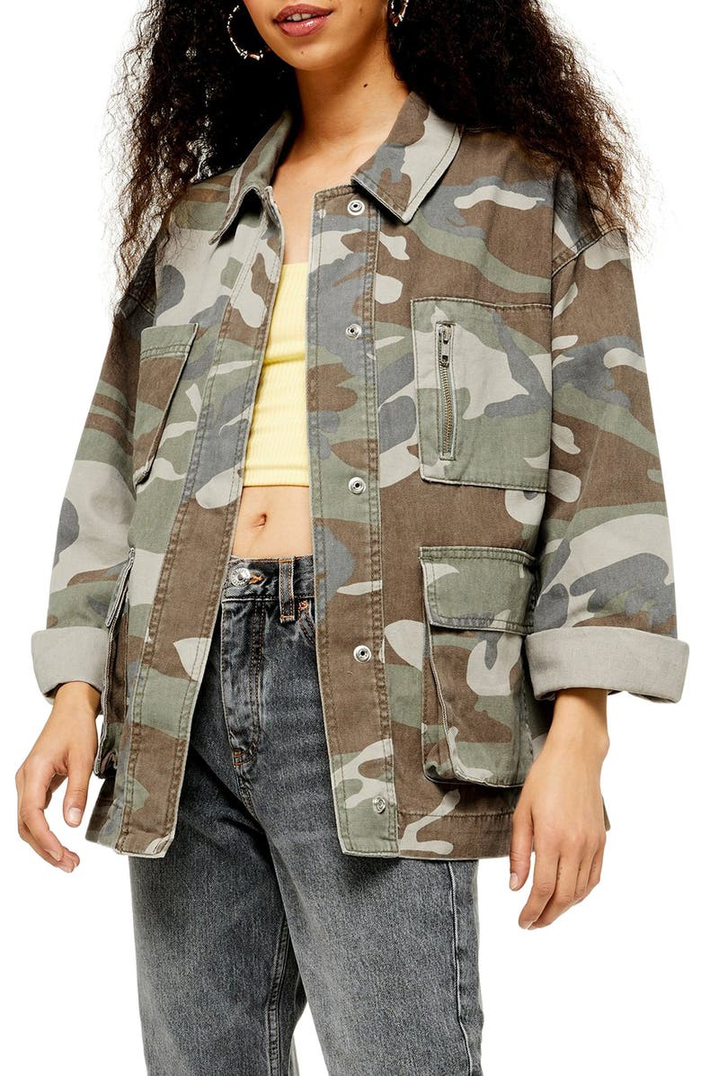 TOPSHOP Camouflage Longline Shirt Jacket, Main, color, 300