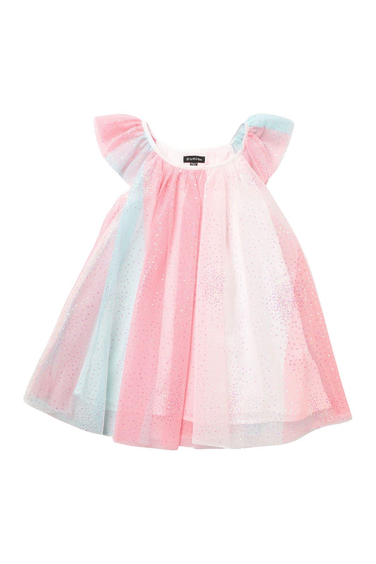 Image of Zunie Flutter Sleeve Rainbow Float Dress