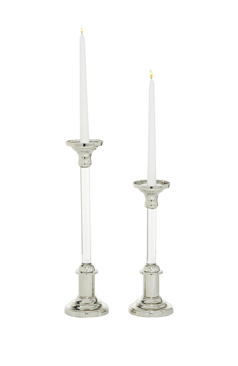 WILLOW ROW Round Clear Acrylic Candle Holders w/ Silver Stainless Steel Top & Base, 2-Piece Set, Main, color, SILVER