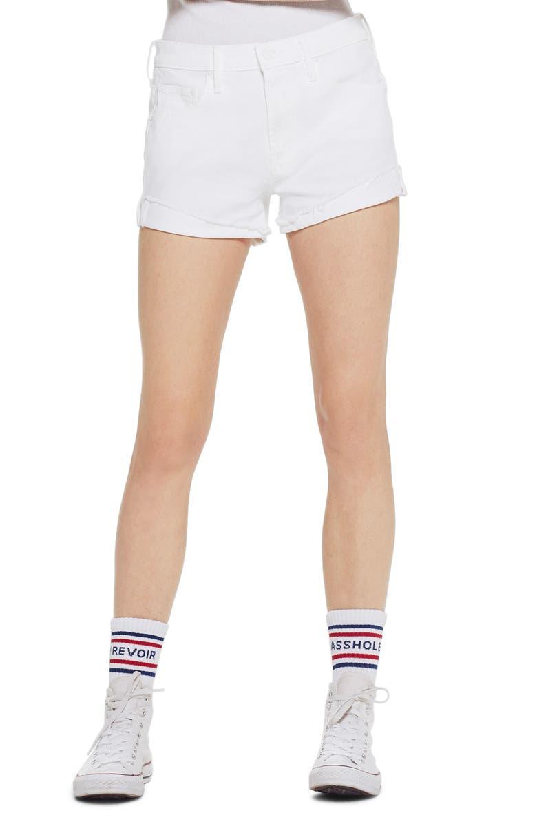 MOTHER The Rascal High Waist Slit Flip Denim Shorts, Main, color, 100