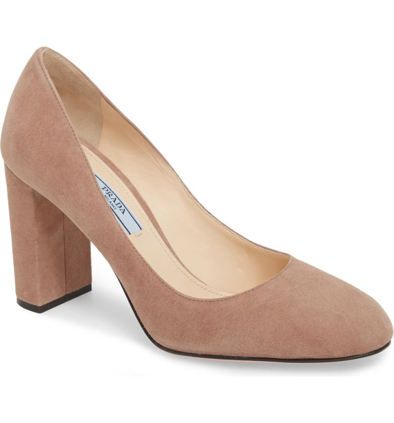 PRADA Round Toe Pump, Main, color, DARK ROSE